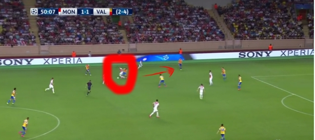 As he predicted, play comes his way and he applies pressure on the opposition player to win back the ball. But once he sees that the player has an open man to pass to, he retreats into the previous position to, again, await a run down his radius.